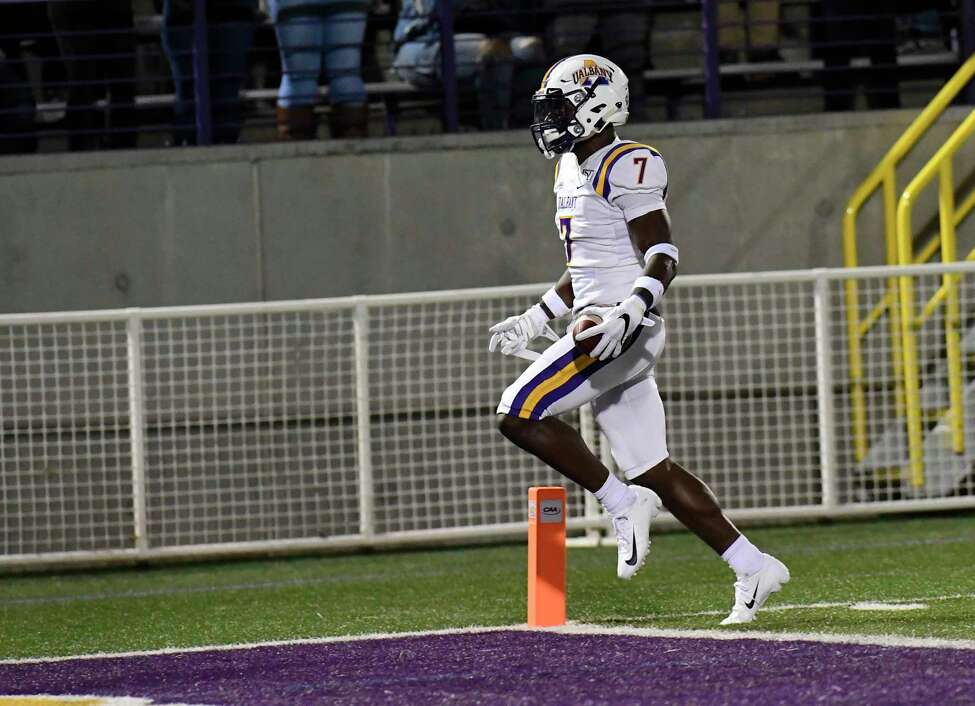 Albany Great Danes cornerback Jarren Williams (7) scores a touchdown against the Bryant University Bulldogs during the first half of an NCAA college home opener football game Saturday, Sept. 7, 2019, in Albany, N.Y.