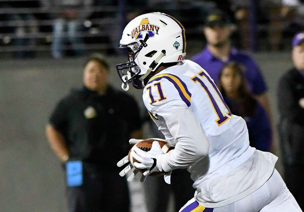 Albany Great Danes wide receiver Jerah Reeves (11) runs for a touchdown against the Bryant University Bulldogs during the first half of an NCAA college home opener football game Saturday, Sept. 7, 2019, in Albany, N.Y.