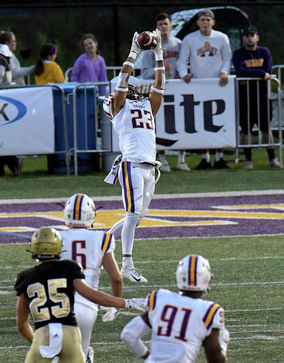 Albany Great Danes safety Josh Wynn (23) intercepts a Bryant University Bulldogs pass during the first half of an NCAA college home opener football game Saturday, Sept. 7, 2019, in Albany, N.Y.
