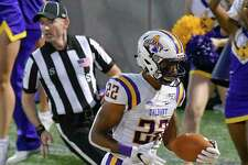Albany Great Danes running back Alex James (22) runs for touchdown against the Bryant University Bulldogs during the first half of an NCAA college home opener football game Saturday, Sept. 7, 2019, in Albany, N.Y.