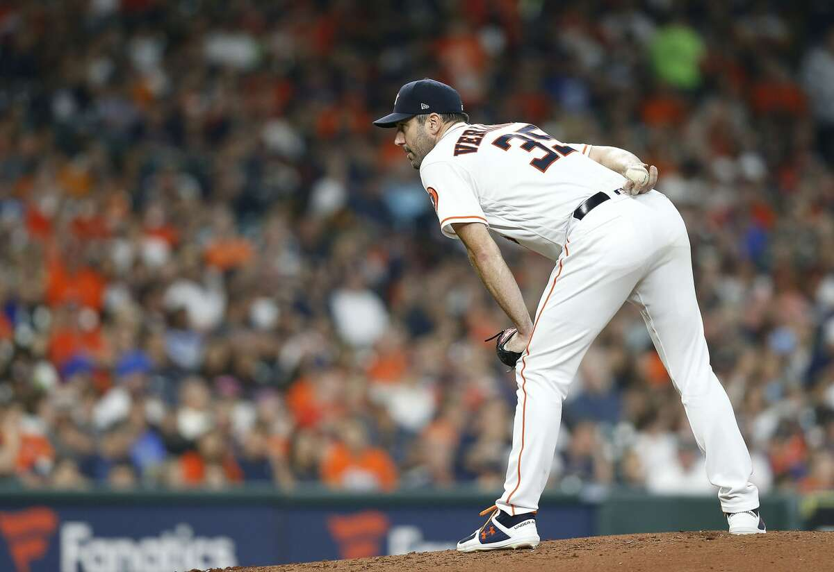 Houston Astros starting pitcher Justin Verlander (35) stands on the mound in the third inning against the Seattle Mariners at Minute Maid Park in Houston on Saturday, Sept. 7, 2019. Houston Astros won the game 2-1.
