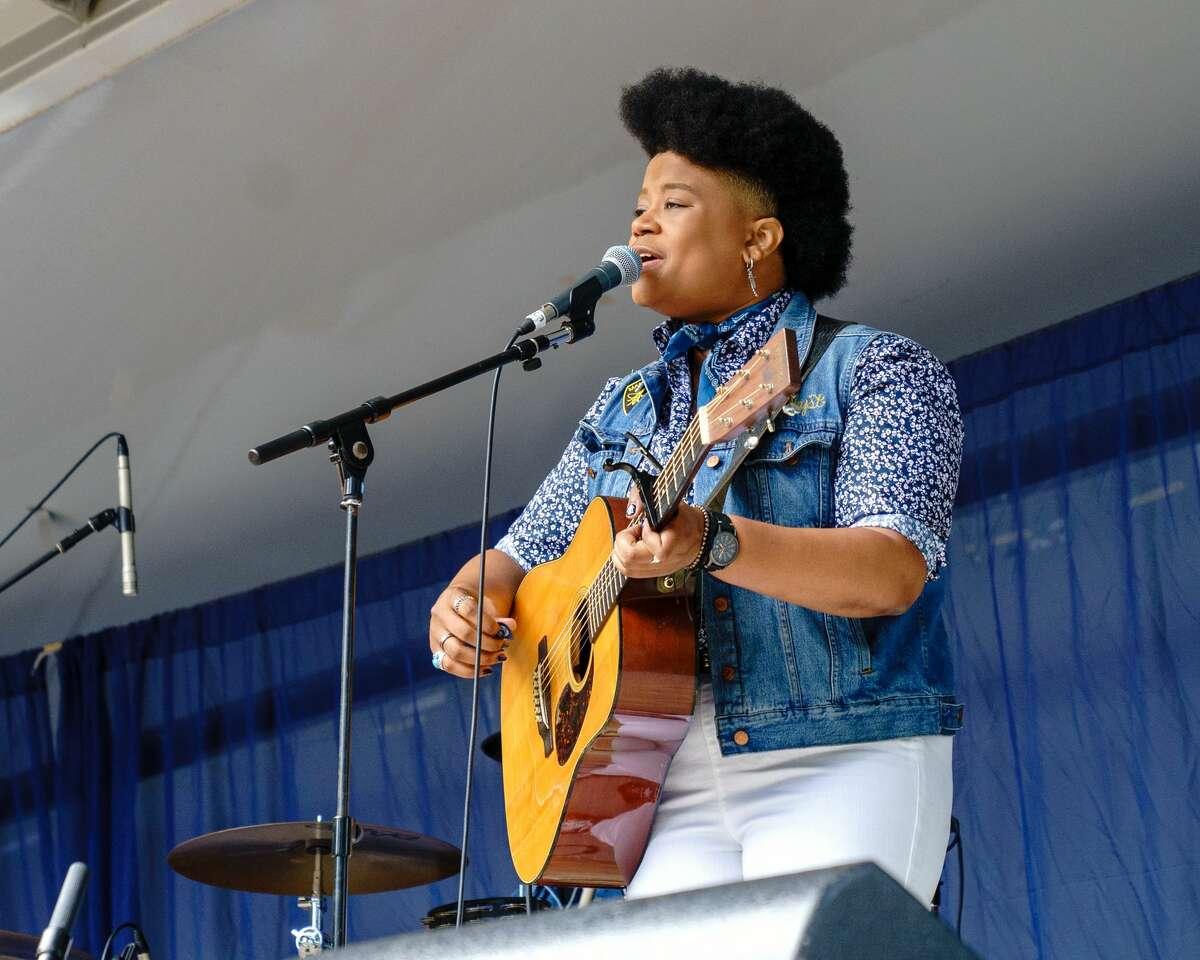 Amythyst Kiah performing at CT Folk Fest 2019.