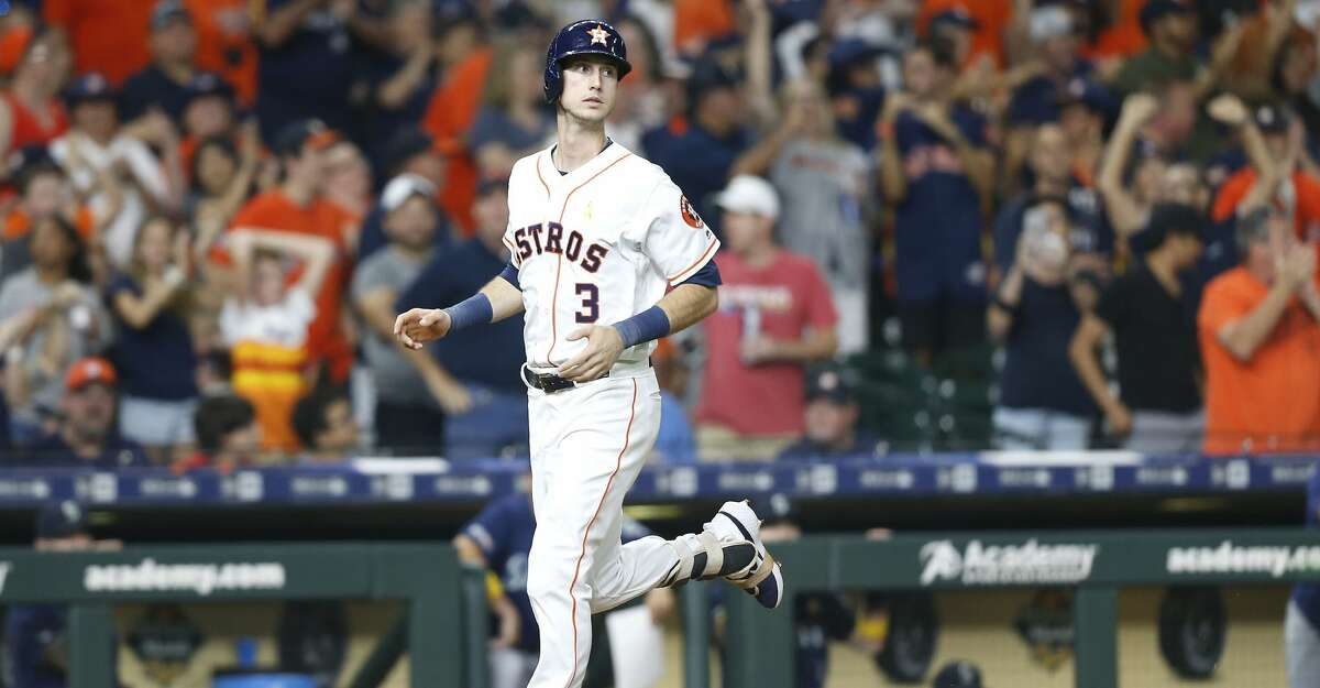 Houston Astros right fielder Kyle Tucker (3) looks up after what he thought was a home run got called back for a double because of fan interference against the Seattle Mariners at Minute Maid Park in Houston on Saturday, Sept. 7, 2019.