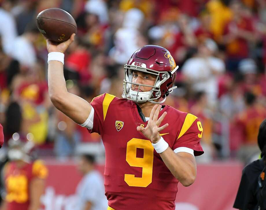 USC quarterback Kedon Slovis warms up before Saturday's game against visiting Stanford. Slovis substituted for the injured JT Daniels. The Cardinal were without quarterback K.J. Costello. The game ended too late to make this edition. Look for coverage at sfchronicle.com/sports. Photo: Jayne Kamin-Oncea / Getty Images