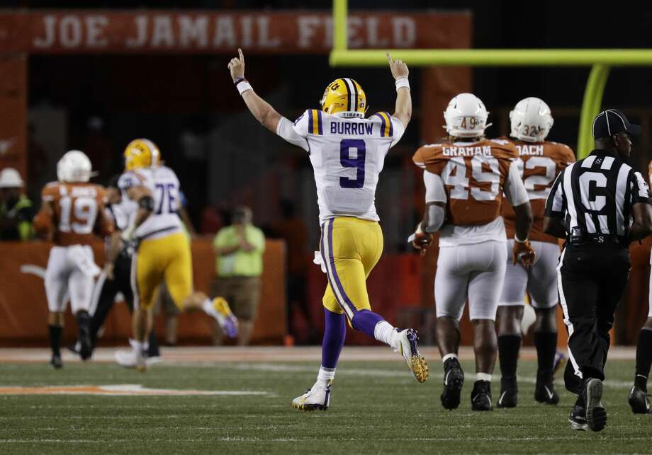 LSU quarterback Joe Burrow (9) celebrates after connecting with wide receiver Justin Jefferson for a touchdown against Texas during the second half of an NCAA college football game Saturday, Sept. 7, 2019, in Austin, Texas. (AP Photo/Eric Gay) Photo: Eric Gay/Associated Press