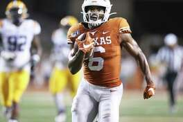Devin Duvernay gets a straigtaway sprint to the goal line for a fourth quarter touchdown as Texas hosts LSU at Darrell K. Royal Stadium on September 7, 2019.