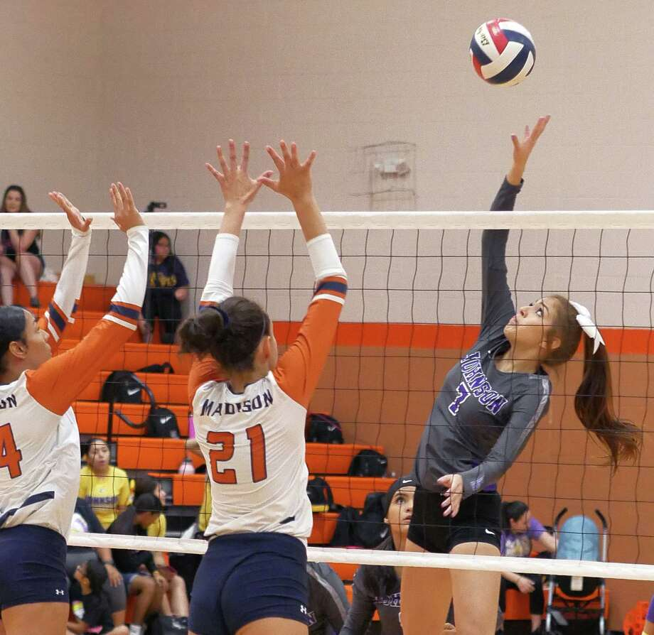 Leean Maldonado hits the ball for the LBJ Lady Wolves as they played Madison, Saturday, September 7, 2019 at the United High School Gym. Photo: Cuate Santos / Laredo Morning Times / Laredo Morning Times