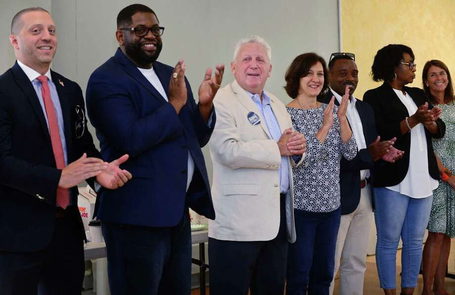 Norwalk Mayor Harry Rilling, center, celebrates the kick off his campaign with Common Council candidates Saturday, September 7, 2019, at the Norwalk DTC campaign headquarters on North Main Street in Norwalk, Conn. He was joined by local, state and federal officials, including Congressman Jim Himes. Photo: Erik Trautmann / Hearst Connecticut Media / Norwalk Hour