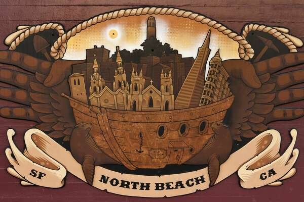 North Beach ship mural45-year-old illustrator and fine artist Jeremy Fish has been living and making art in the city limits of San Francisco for the past 25 years. Now living in the middle of North Beach, his murals can be found all over the neighborhood.