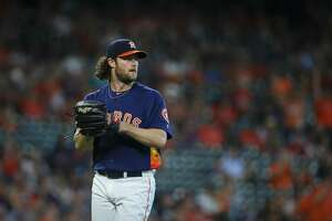 Houston Astros starting pitcher Gerrit Cole (45) after getting the 15th strike out against the Seattle Mariners during the eighth inning of an MLB game at Minute Maid Park Sunday, Sept. 8, 2019, in Houston. Cole is the second pitcher ever to strike out 14 or more batters in three straight starts.