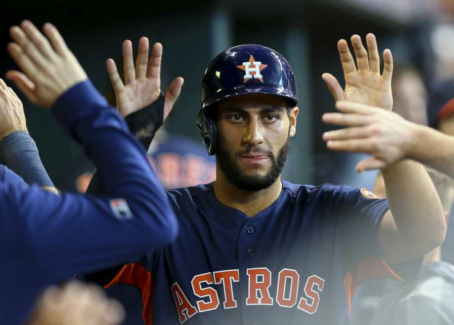 PHOTOS: Astros vs. Royals Houston Astros third baseman Abraham Toro (13) celebrates with teammates in the dugout after scoring against the Seattle Mariners during the eighth inning of an MLB game at Minute Maid Park Sunday, Sept. 8, 2019, in Houston. Toro hit a double to left field in the inning, which broke the team record for doubles, 11, in one game. >>>See photos from the Astros' series finale against the Royals on Sunday ... Photo: Godofredo A Vásquez