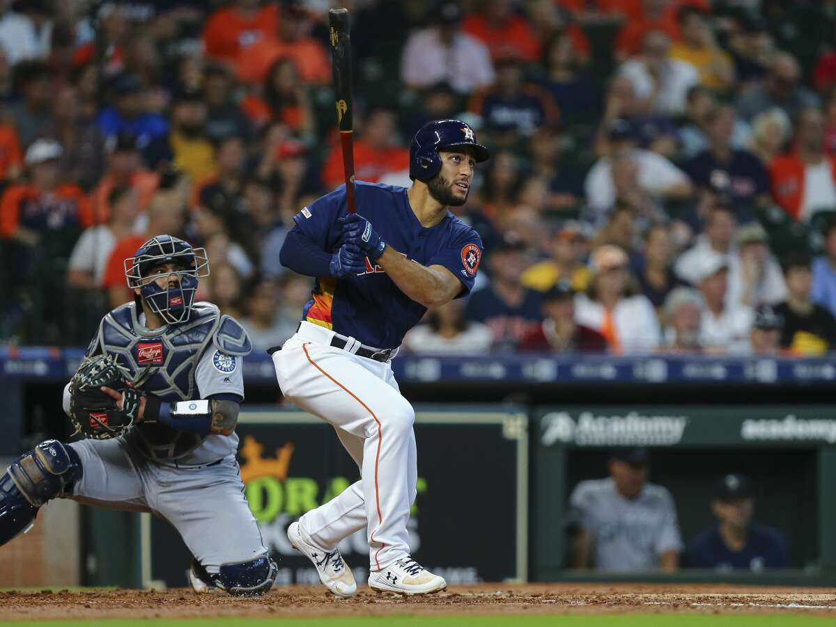 Houston Astros third baseman Abraham Toro (13) hits a double to right field against the Seattle Mariners during the second inning of an MLB game at Minute Maid Park Sunday, Sept. 8, 2019, in Houston.
