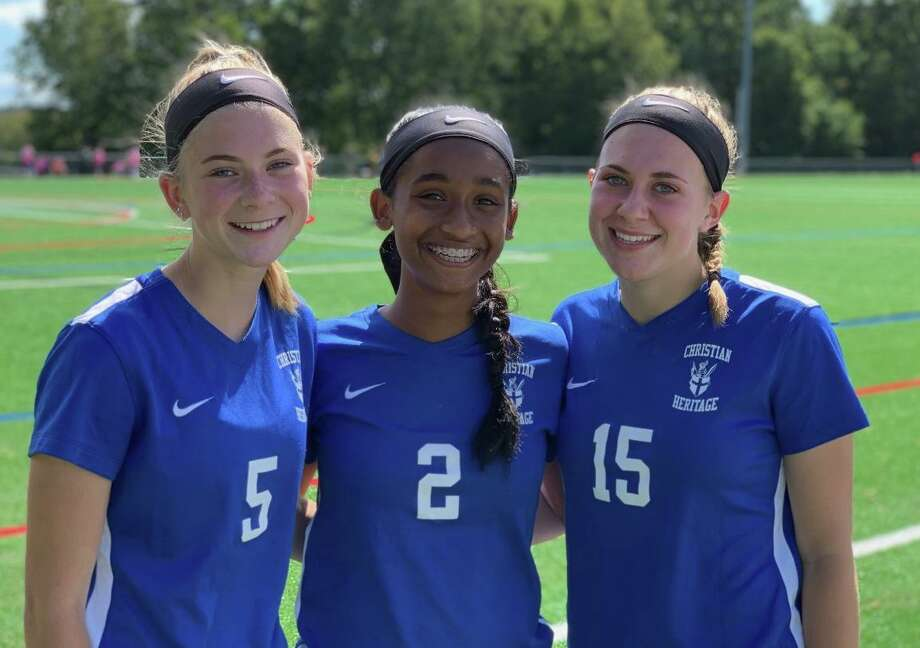 Alex Angelini, Natania Muriel and Mia Angelini scored goals for Christian Heritage School in its 4-1 season-opening victory over Lexington Christian Academy on Sunday. Photo: Contributed Photo / Christian Heritage Athletics / Trumbull Times