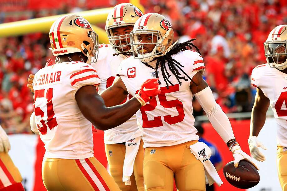 TAMPA, FLORIDA - SEPTEMBER 08: Richard Sherman #25 of the San Francisco 49ers celebrates an interception returned for a touchdown during a game against the Tampa Bay Buccaneers at Raymond James Stadium on September 08, 2019 in Tampa, Florida. (Photo by Mike Ehrmann/Getty Images) Photo: Mike Ehrmann / Getty Images