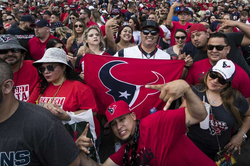 Houston Texans fans gather for a rally in front of St. Louis Cathedral on Sunday, Sept. 8, 2019, in New Orleans to cheer on the Texans in preparation for the season opener against the New Orleans Saints. The Texans open the 2019 NFL season on Monday Night Football against the Saints in the Mercedes Benz Superdome.