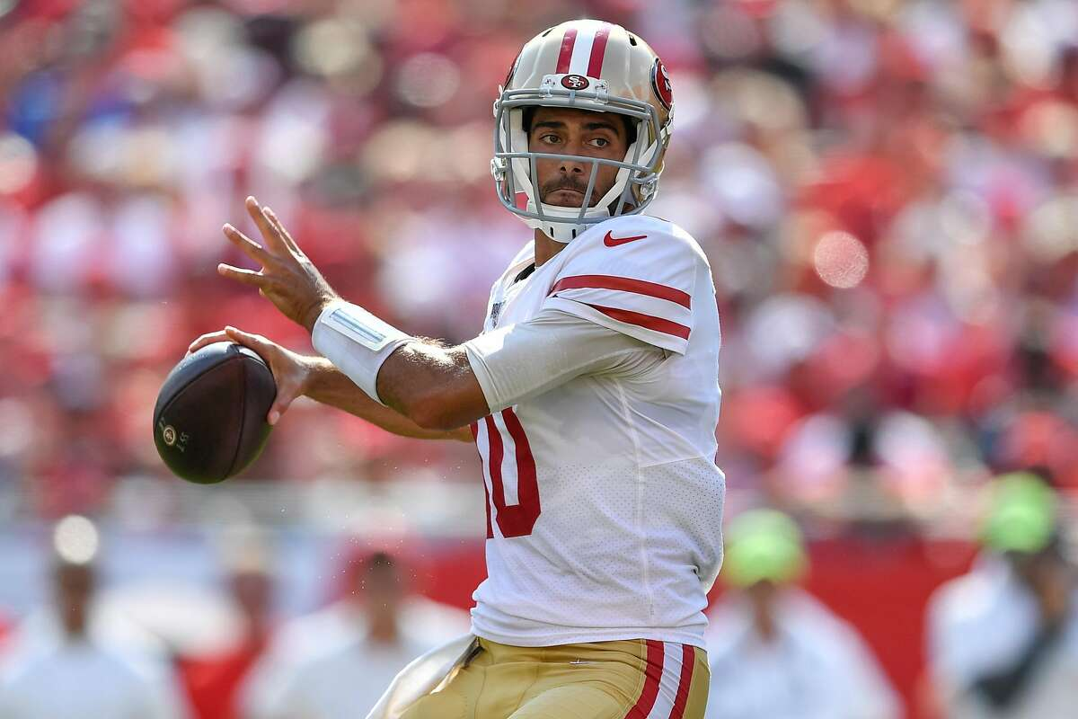 TAMPA, FL - SEPTEMBER 08: San Francisco 49ers Quarterback Jimmy Garoppolo (10) in the pocket during the first half of the season opener between the San Francisco 49ers and the Tampa Bay Bucs on September 08, 2019, at Raymond James Stadium in Tampa, FL. (Photo by Roy K. Miller/Icon Sportswire via Getty Images)