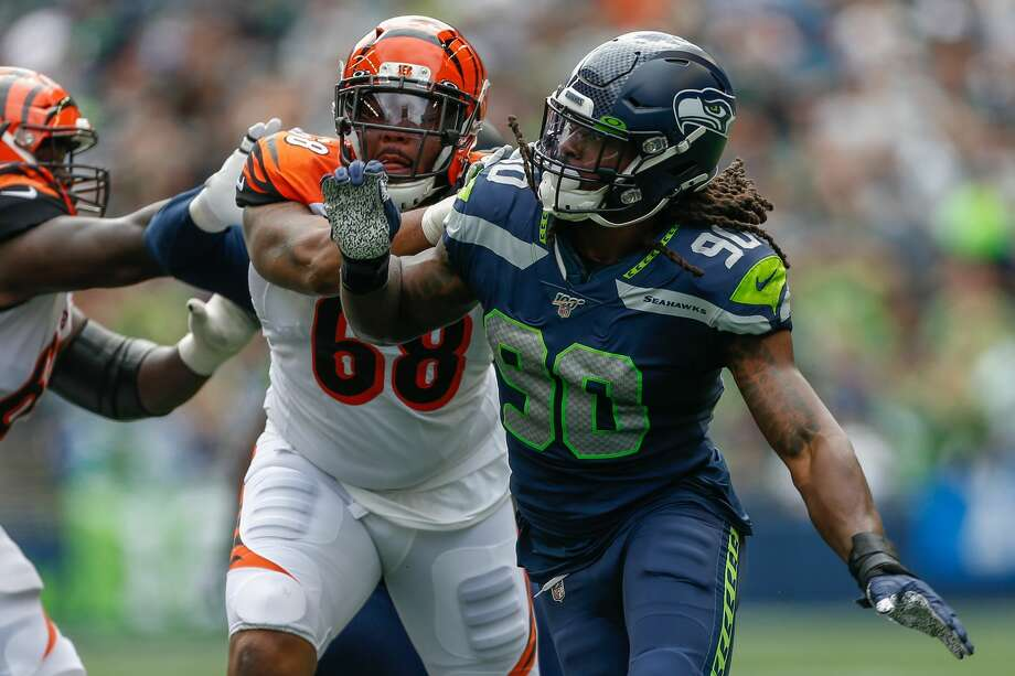 SEATTLE, WA - SEPTEMBER 08: Defensive end Jadeveon Clowney #90 of the Seattle Seahawks in action against Bobby Hart #68 of the Cincinnati Bengals at CenturyLink Field on September 8, 2019 in Seattle, Washington. (Photo by Otto Greule Jr/Getty Images) Photo: Otto Greule Jr/Getty Images