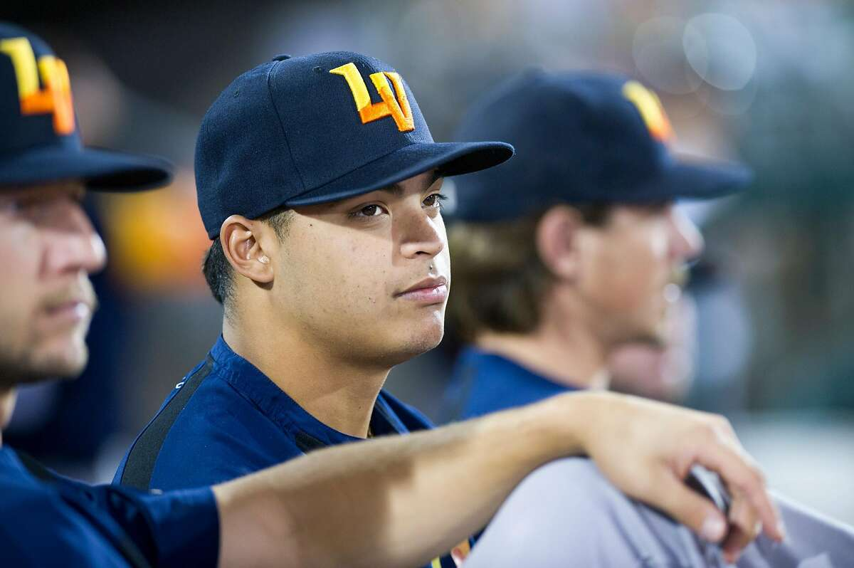 Las Vegas Aviators pitcher Jesus Luzardo keeps an eye on the game during the first Pacific Coast League championship series game against the Sacramento River Cats at Raley Field in Sacramento, Calif. on Wednesday, Sept. 4, 2019.