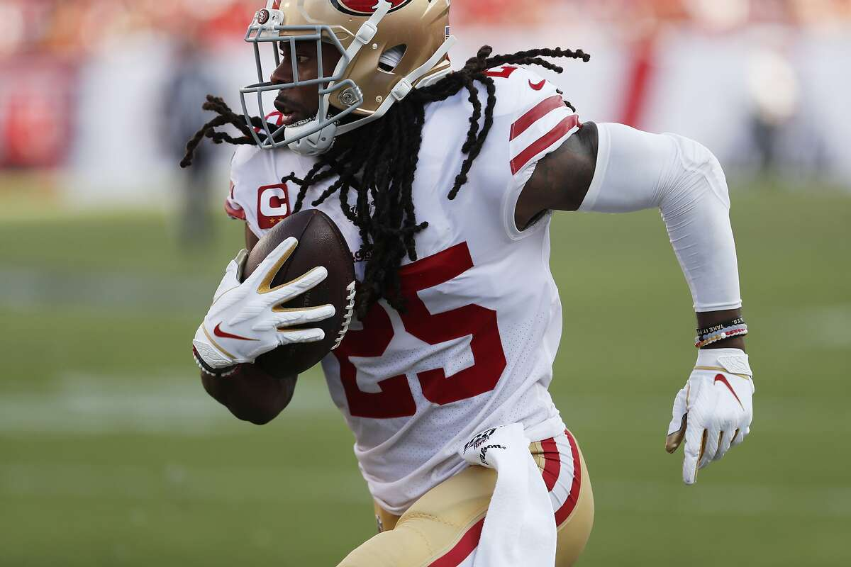 San Francisco 49ers cornerback Richard Sherman (25) runs witht he ball after a fumble during the second half an NFL football game, Sunday, Sept. 8, 2019, in Tampa, Fla. (AP Photo/Mark LoMoglio)
