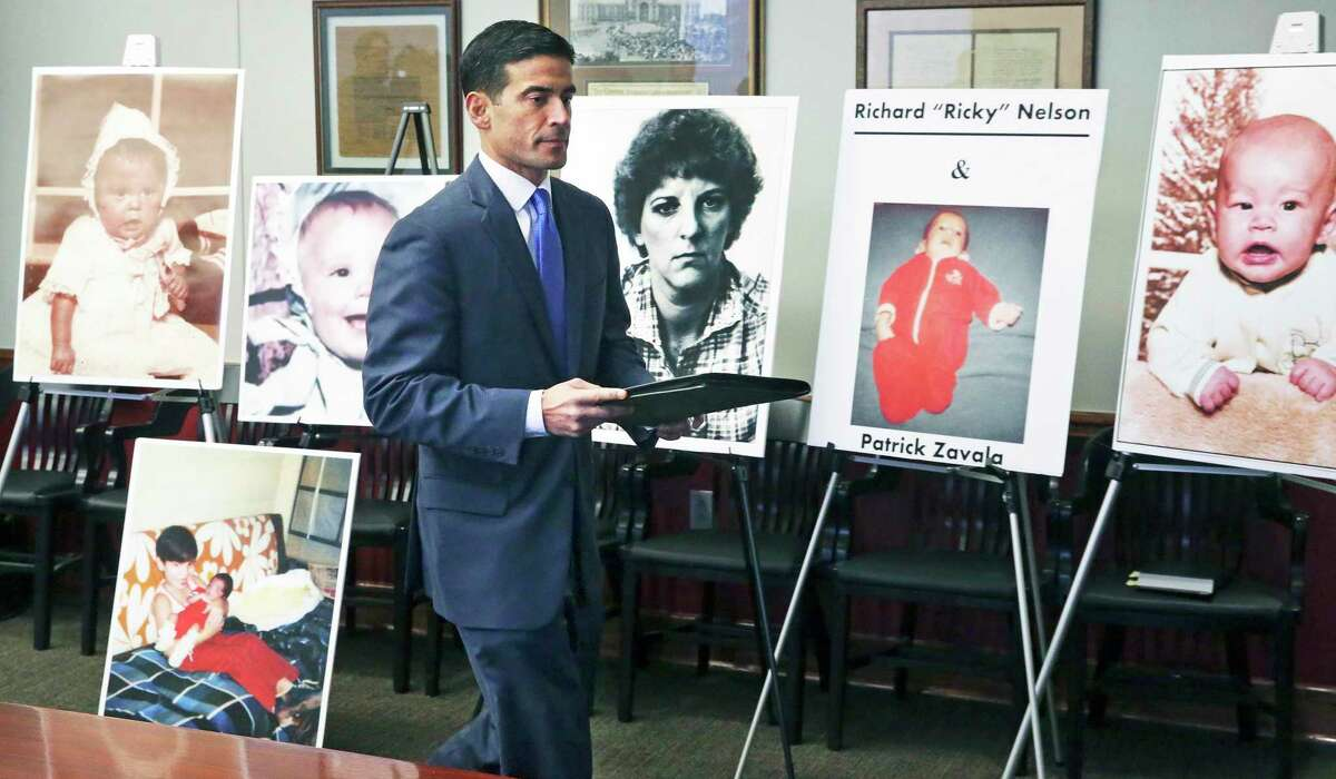 Then-Bexar County District Attorney Nico LaHood announces his intentions to prosecute nurse Genene Jones on Dec. 6, 2017, in the deaths of five children at the Bexar County public hospital in 1981 and 1982.