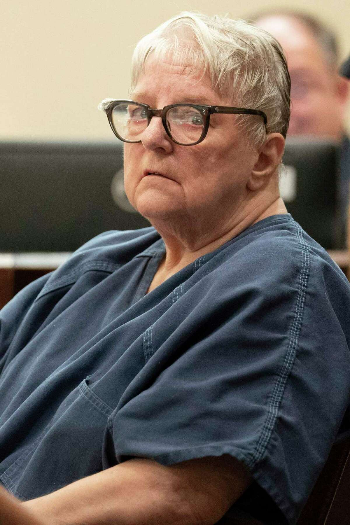Convicted murderer Genene Jones listens during a court hearing in Bexar County about her case on May 22, 2019.