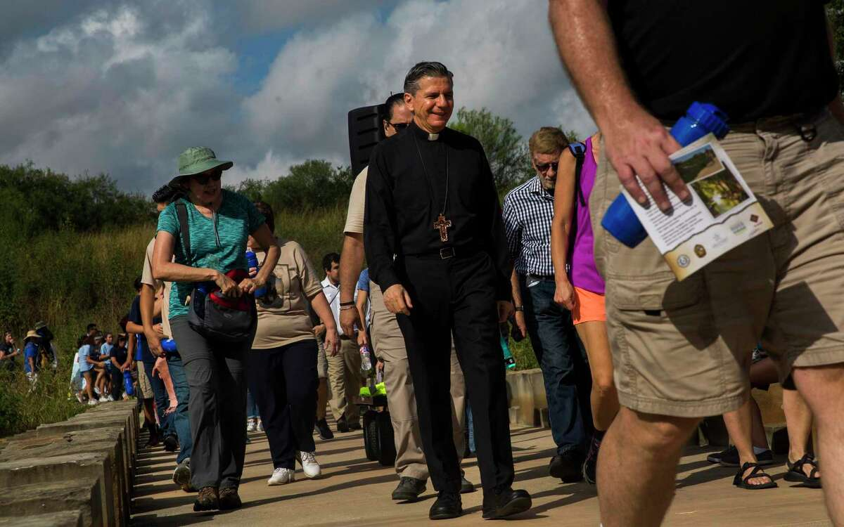"""Archbishop Gustavo Garcia-Siller leads the procession from Mission Espada to Mission San Juan while presiding over """"El Camino de San Antonio: Caring for Creation"""" mariachi mass as part of last year's World Heritage Festival. Because of the pandemic, this year's festival will feature virtual activities and events using social-distancing practices to celebrate the San Antonio Missions, the only UNESCO World Heritage Site in Texas."""