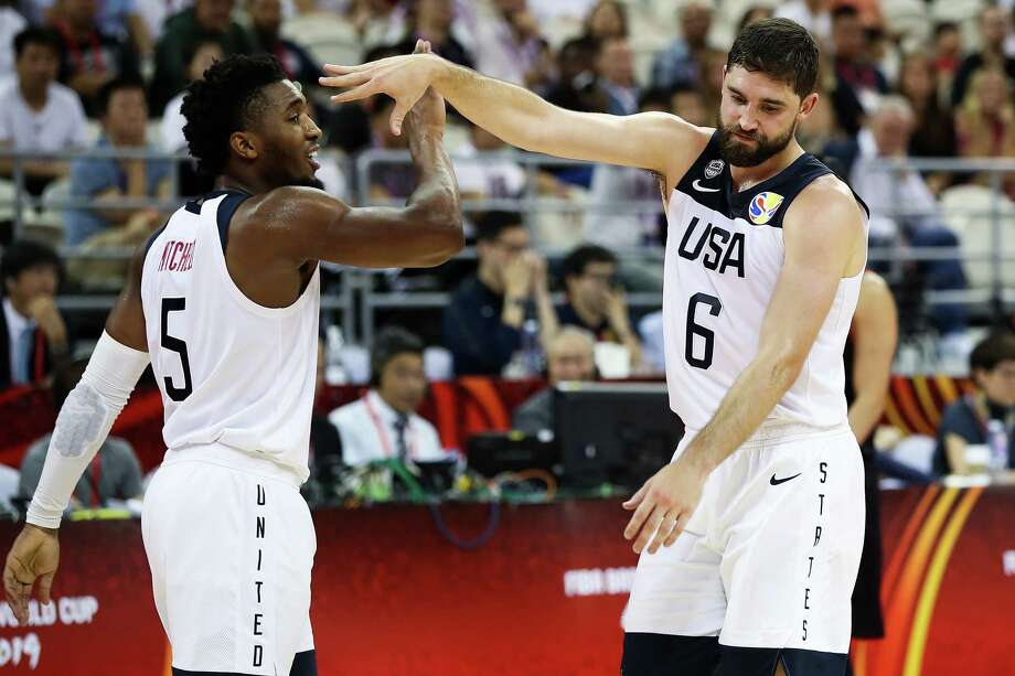 SHANGHAI, CHINA - SEPTEMBER 05:  Joe Harris of USA celebrate with Donovan Mitchell during the 1st round Group E match between USA and Japan of 2019 FIBA World Cup at the Oriental Sports Center on September 5, 2019 in Shanghai, China.  (Photo by Lintao Zhang/Getty Images) Photo: Lintao Zhang / 2019 Getty Images