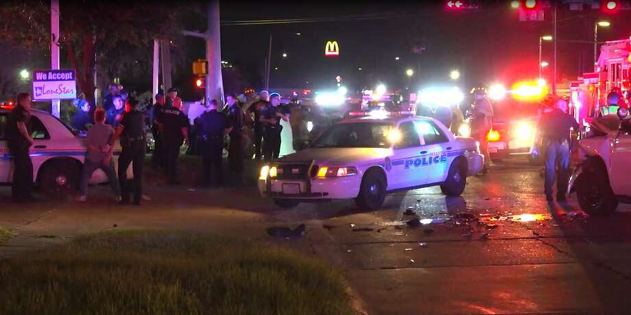 An alleged drunk driver led Houston Police on a pursuit through Pasadena before colliding with two vehicles, including a Harris County constable deputy. Photo: OnScene.TV