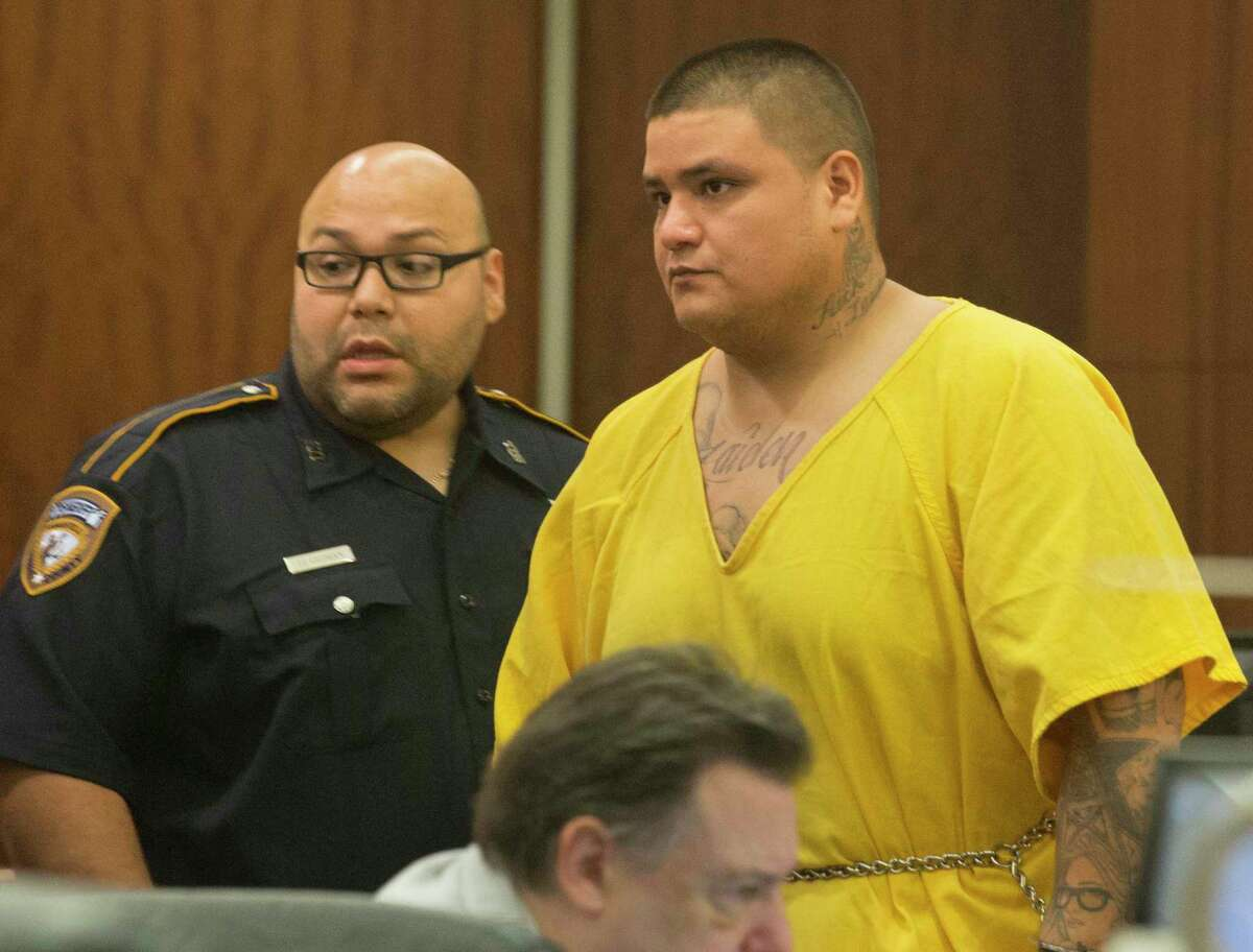 Santiago Esparza, 30, has been charged with tampering with evidence, namely a human corpse, in the death of his girlfriend's 5-year-old daughter, Sierra Patino, appears to State District Judge George Powell on Monday, Sept. 9, 2019, in Houston. Sierra was found dead in a closet on Labor Day.
