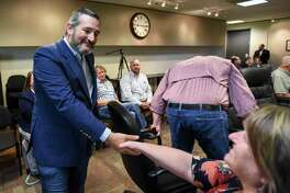 U.S. Sen. Ted Cruz greets various elected officials at the South East Texas Regional Planning Commission building Wednesday. Photo taken on Wednesday, 08/28/19. Ryan Welch/The Enterprise