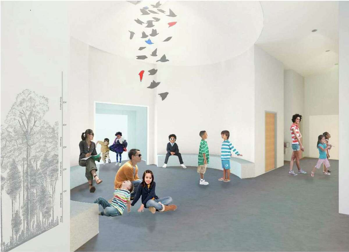 An artist rendering of the Bruce Museum's new Education Wing.