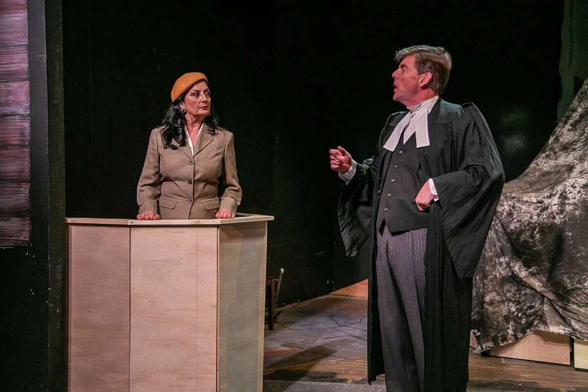 Thursday Savage (Romaine) and Jonathan Jacobson (Sir Wilfrid Robarts) rehearse a scene for