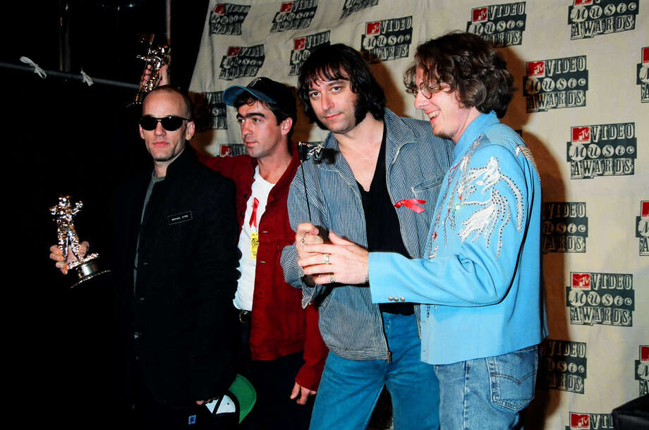Michael Stipe, Bill Berry, Peter Buck and Mike Mills of R.E.M. are seen during the 1994 MTV Video Music Awards.  Photo: Getty Images