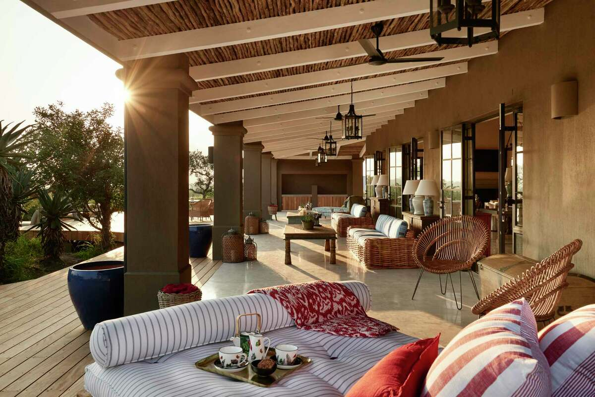 The main lodge at the Farmstead has deep verandas.