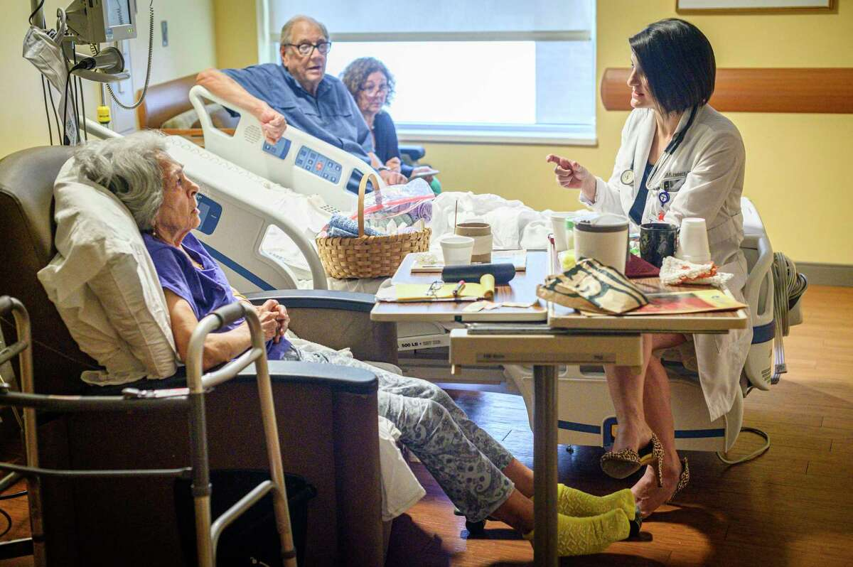 Dr. Britni Hebert speaks to her patient Mona Guilliot, left, at Our Lady of Lourdes Regional Medical Center in Lafayette, La., Aug. 8, 2019. (Emily Kask/The New York Times)