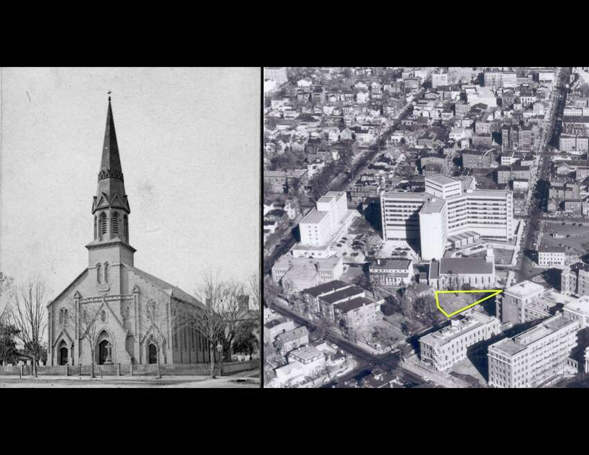Left: Headstones were visible in this 1870 image of St. John's Church. Right: An aerial view of St. John's in the 1950s shows that the headstones have been removed.