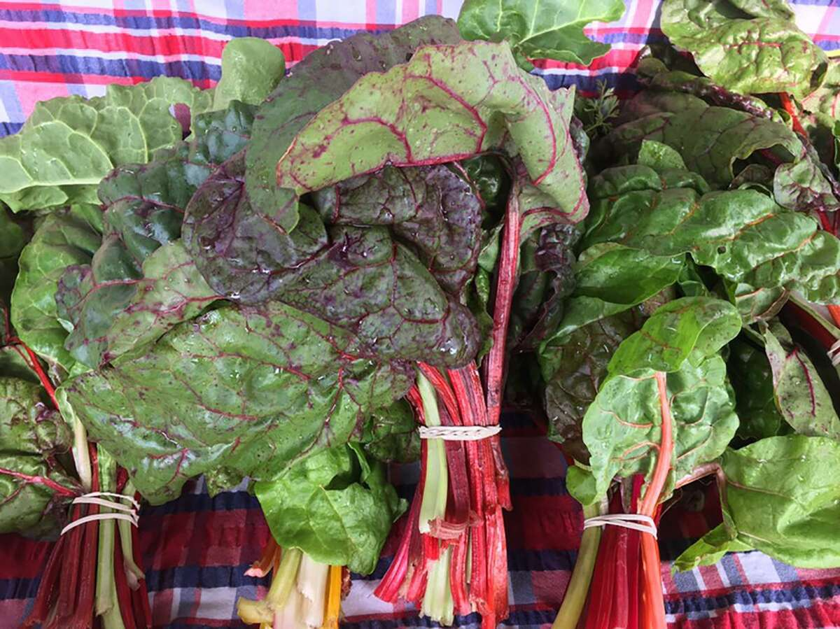 Fresh bunches of Swiss chard at the Pearl Farmers Market.