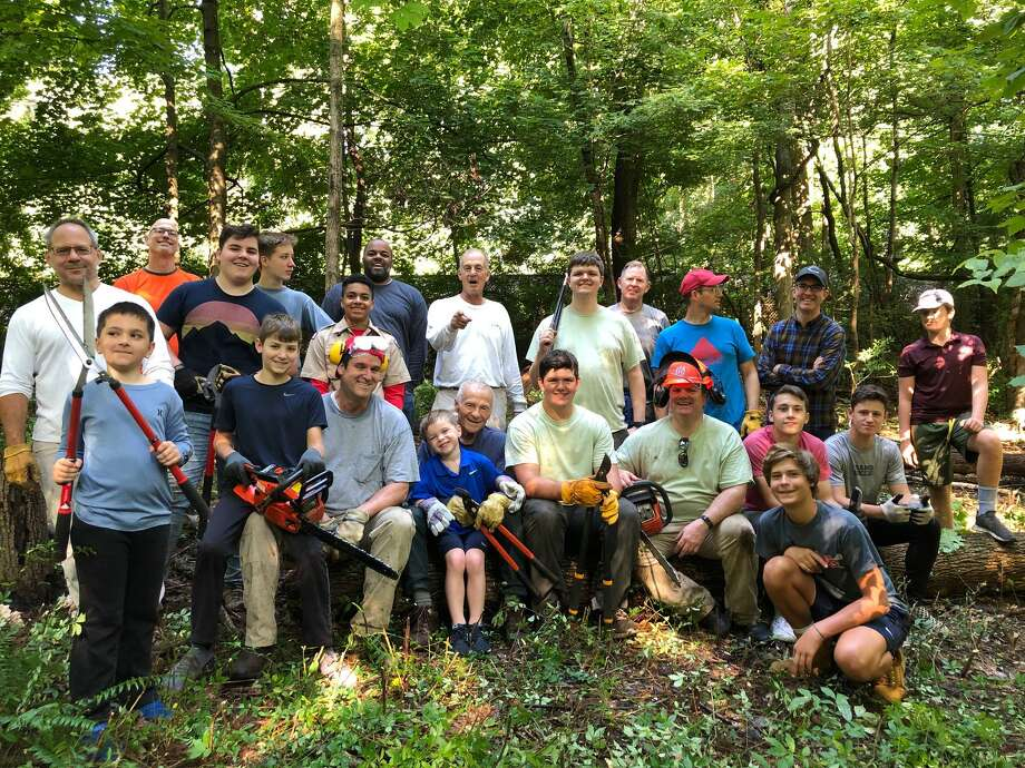 On Saturday, Sept. 7, Troop 286 Boy Scouts and parents helped clear invasive species from the Mead Park entrance area of Bristow Nature Park & Trails. Photo: Contributed Photo.