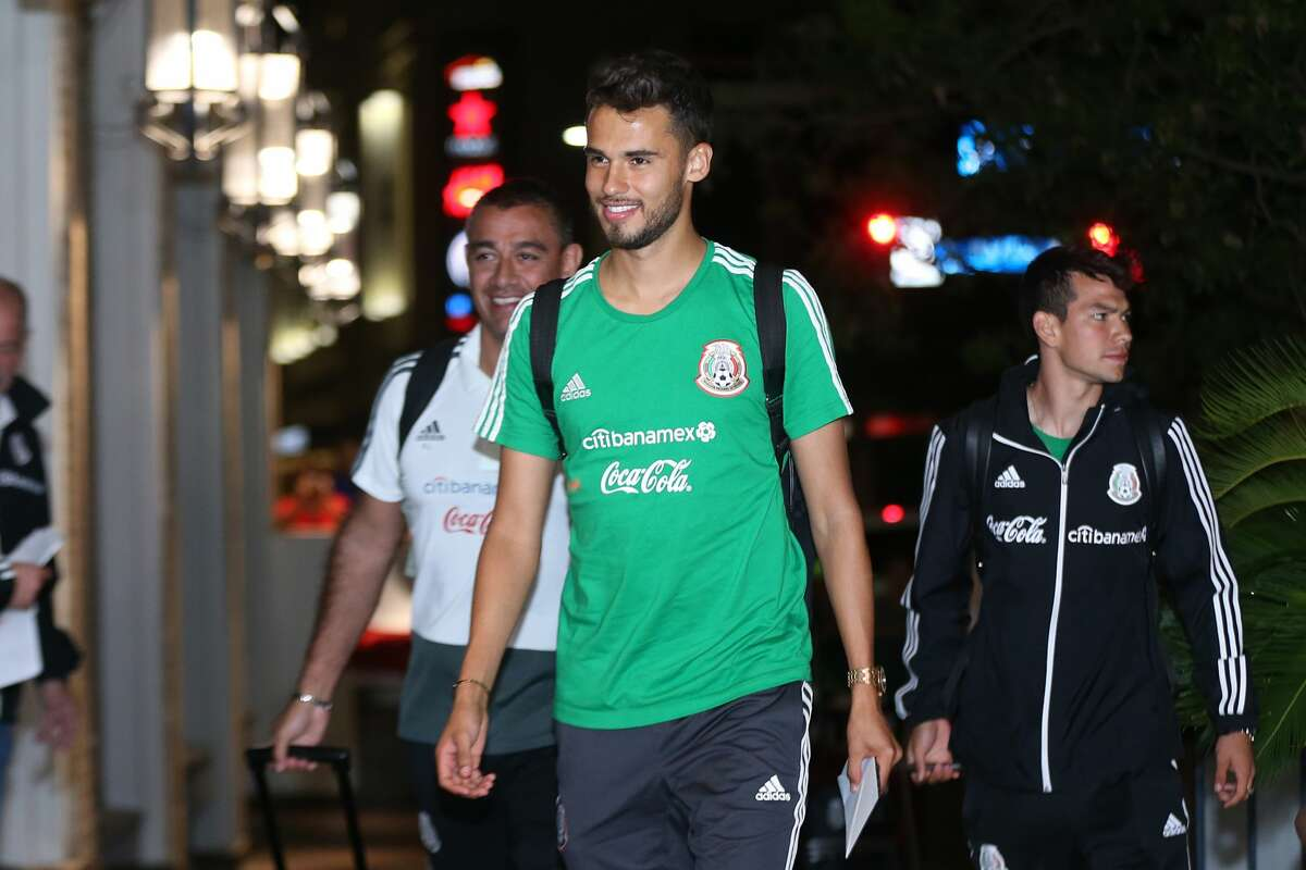 Diego Reyes of Mexico smiles during the Mexico National Team arrival to Hotel Hilton Palacio del Rio on September 8, 2019, in San Antonio.