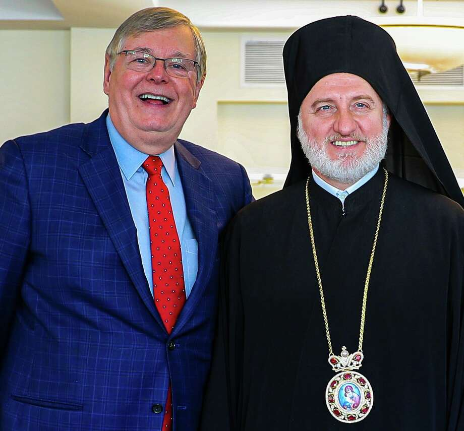 Archbishop Elpidophoros, the recently enthroned Greek Orthodox Church Archbishop of America, visited Stamford's Archangels Greek Orthodox Church on Sunday, Sept. 8, 2019. Here he is pictured with Stamford Mayor David Martin. Photo: Photo By Maria DeVito
