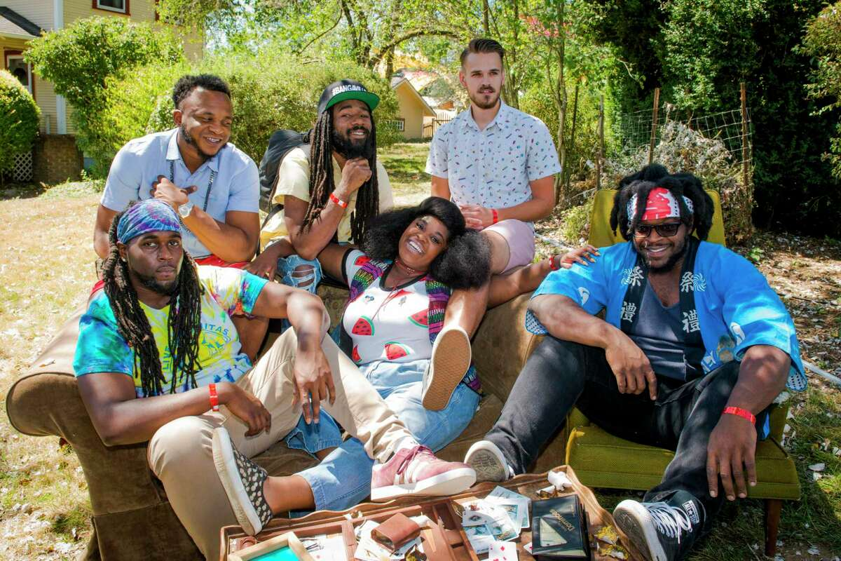 Portrait of Tank and the Bangas (center: Tarriona 'Tank' Ball), backstage at Pickathon Festival at Pendarvis Farm, Happy Valley, Oregon, USA on 5th August, 2017.