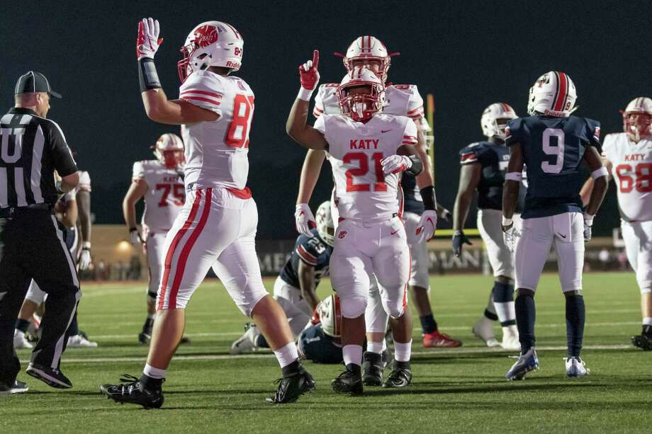 Katy running back Sherman Smith (21) celebrates after scoring a touchdown in the first half of a high school football game Friday, Sep 6, 2019, in Humble, Texas. Photo: Joe Buvid, Houston Chronicle / Contributor / © 2019 Joe Buvid