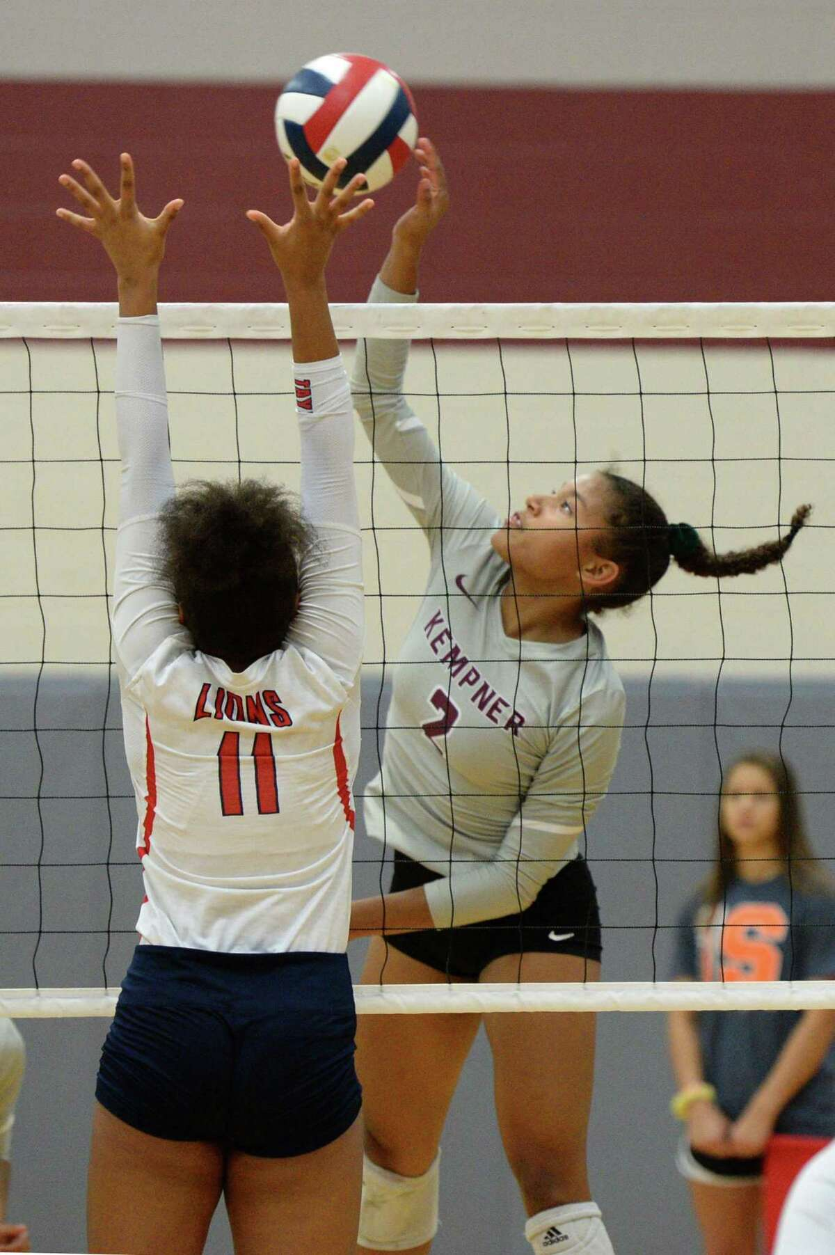 Tatiana Evans (2) of Kempner attempts a kill shot during the second set of a volleyball match between the Kempner Cougars and the Alief Taylor Lions on Saturday, August 10, 2019 at Cinco Ranch HS, Katy, TX.
