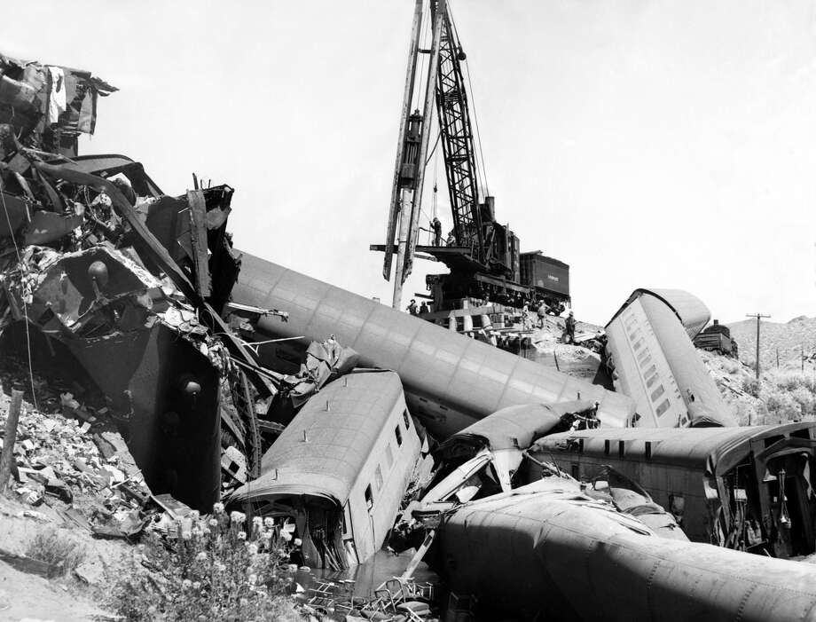 "A pile driver in action at the scene of the wreck of Southern Pacific's luxury streamliner train ""The City of San Francisco."" The crash took place in Carlin, Nevada in August 1939. Photo: Underwood Archives/Getty Images"