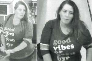 A woman is seen in surveillance video stills during a visit at a Hobby Lobby in New Caney where she allegedly stole more than $700 in art supplies.