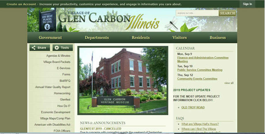 A screen shot that depicts part of Glen Carbon's current website, which went live in 2010. Village officials are starting to discuss modernizing the site.