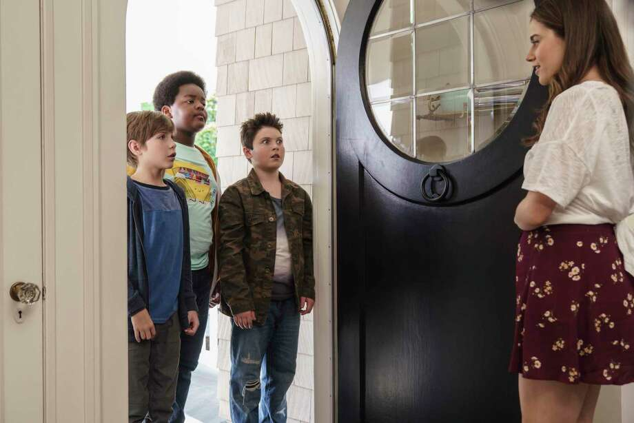 """This image released by Universal Pictures shows Jacob Tremblay, from left, as Max, Keith L. Williams as Lucas, Brady Noon as Thor and Molly Gordon as Hannah in the film, """"Good Boys,"""" written by Lee Eisenberg and Gene Stupnitsky and directed by Stupnitsky. (Ed Araquel/Universal Pictures via AP) Photo: Ed Araquel / A Universal Release © 2019 Universal Studios"""