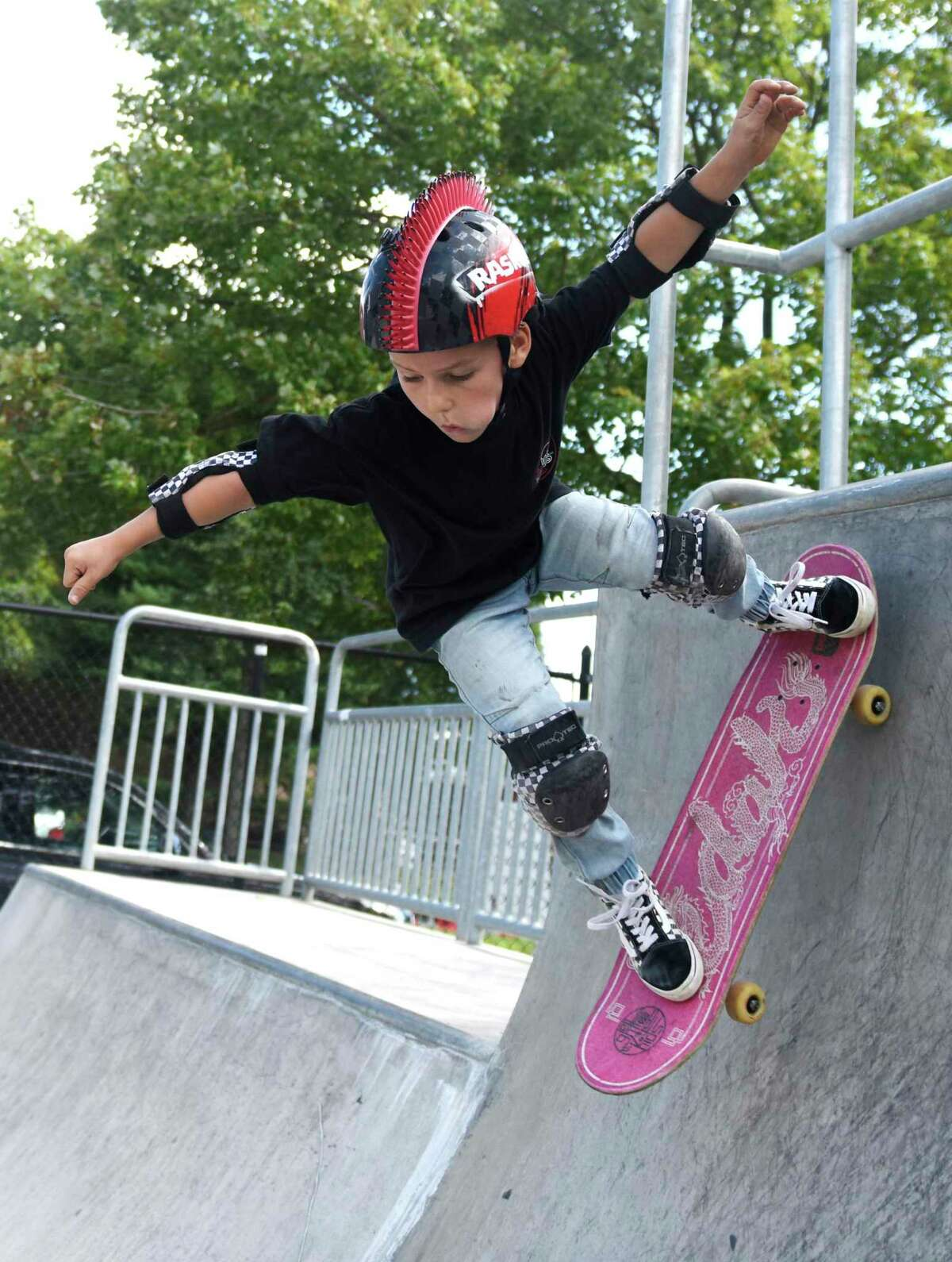 Stamford's Colin Faranda, 9, drops on off the high vert ramp at the Go Skate Festival at the Greenwich Skatepark in Greenwich, Conn. Saturday, Sept. 7. 29, 2019. The event, sponsored by Dental Oral Surgery, featured lessons for children from experienced skaters, followed by a competition for all ages and skill levels. More than 50 skaters participated in the lessons and competition.