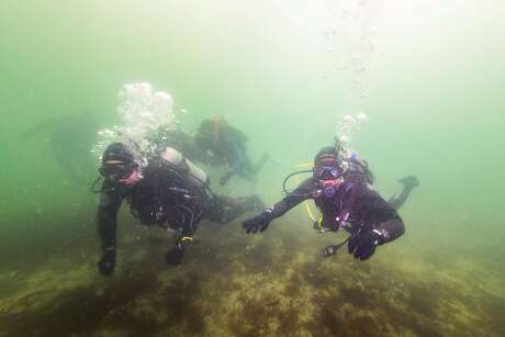 Divers do part of their certification off of San Carlos Beach on Saturday, Sept. 7 in Monterey, Calif.