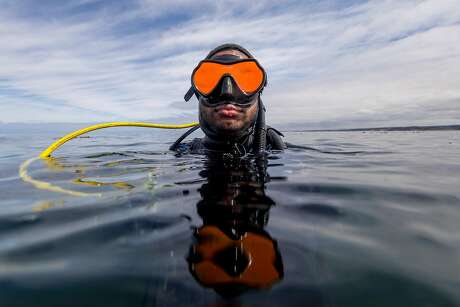 Jordan Duprey awaits instruction during his certification dive with Bamboo Reef Diving School in the water off of San Carlos Beach in Monterey. Photo: Brian Feulner / Special To The Chronicle